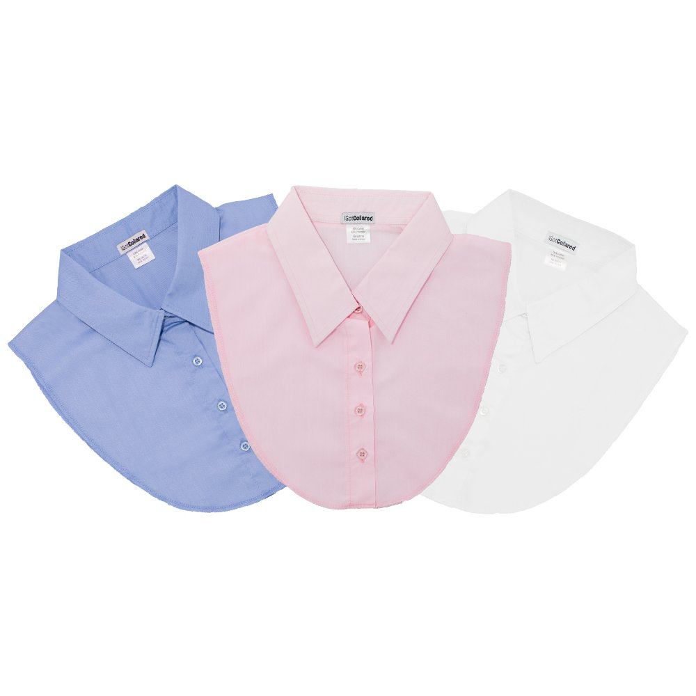 LS Parry Inc. Unisex-Adult's 3Pk LtBlue/White/Ltpink Collared Dickies by IGotCollared, Blue, Light Pink, One Size by LS Parry Inc.
