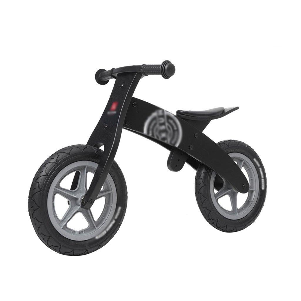 いいえペダル2輪のスクーター子供のスクーターペダルなしバギー子供ダブルホイール自転車スクーター2ラウンドバランス車の木2-6歳 B07F5BGDVJ Black Black
