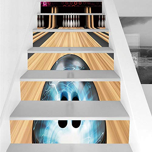 Beau Stair Stickers Wall Stickers,6 PCS Self Adhesive,Bowling Party  Decorations,Ball Rolling On Wooden Lane Image Activity Competition  Challenge Decorative ...