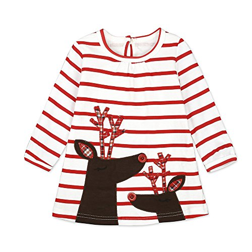 Budazo Deer Baby Girls' Long Sleeve Crew Neck Shirt, Cotton Stripe Dresses for Toddler(Deer3,9M)