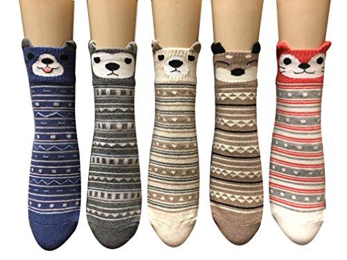 Cute Fun Casual Animal Print Women Teen Girls Cotton Ankle Socks Perfect Gifts (Safari)
