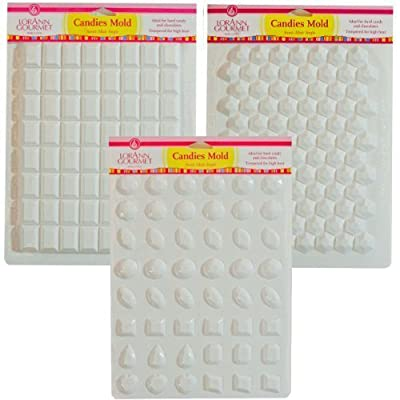 Lorann Hard Candy Making Mold Gems Set - Includes Jewels, Break Apart Hexagon, and Break-apart Rectangle