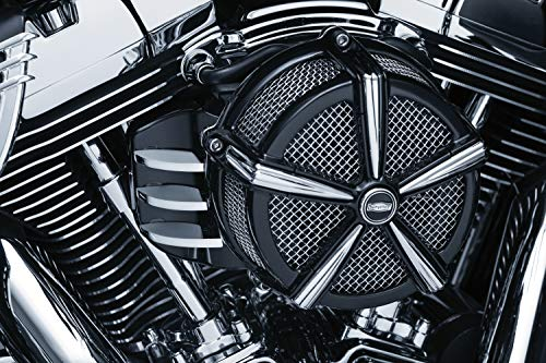 Kuryakyn 5686 Motorcycle Air Cleaner Component: Signature Series Finned EFI Cover by Jim Nasi for Round Air Cleaners, Black/Chrome (Screamin Eagle Exhaust For 2014 Street Glide)