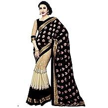 Sakala Export Women Indian Saree Black Color Best Price Free Blouse T2497