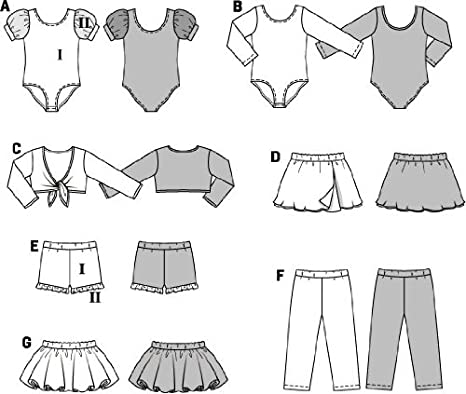 Burda 9629 Schnittmuster Body Ballettrock Leggings (kids, Gr, 104 ...