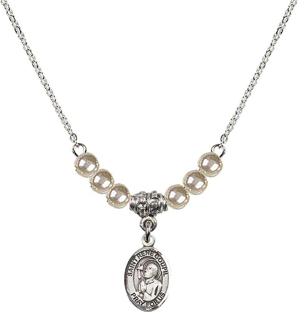 18-Inch Rhodium Plated Necklace with 4mm Faux-Pearl Beads and Sterling Silver Saint Rene Goupil Charm.