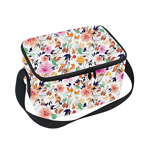 - Lunch Bag Insulated Lunchbox Cooler Pouch Shopper Tote Colorful Flowers Portable Fashion Handbag for School Work
