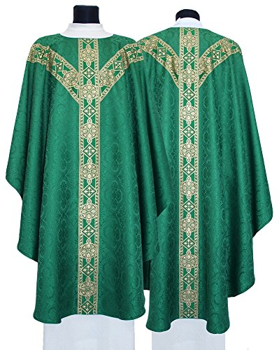 Green Chasuble - Green Semi Gothic Chasuble Vestment GY201-Z25 (green)