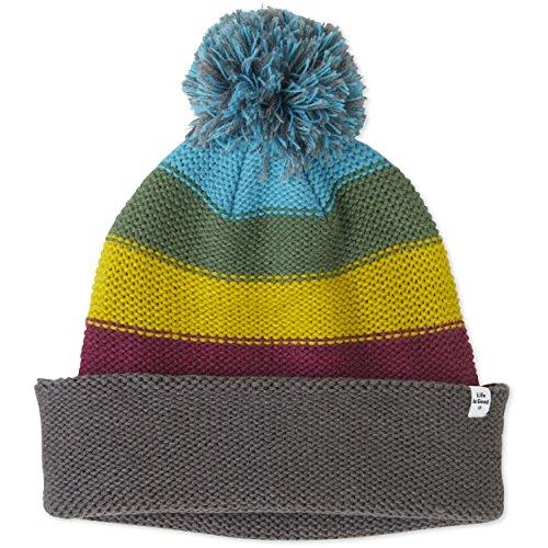 Life is Good Slouchy Pom Stripes Hat, Slate Gray, One Size ()
