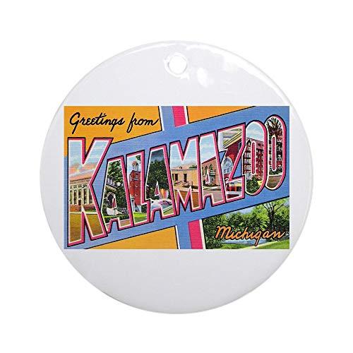 CafePress Kalamazoo Michigan Greetings Ornament (Round) Round Holiday Christmas -