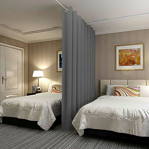 ChadMade Premium Heavyweight Room Divider Curtain In Grey 12.5ft Wide x 8ft Height (System Room Divider)