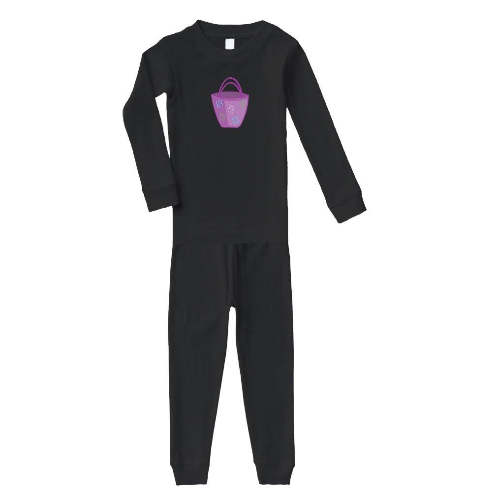 Purple Purse Cotton Long Sleeve Crewneck Unisex Infant Sleepwear Pajama 2 Pcs Set Top and Pant - Black, 5/6T