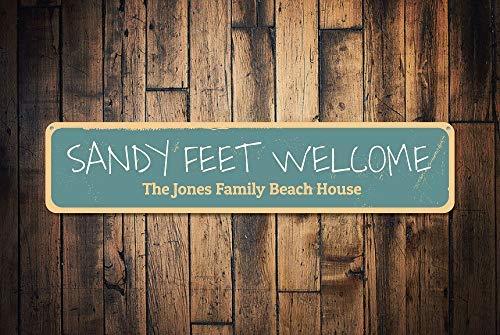 Cartel de bienvenida de pies de arena, personalizable, para ...