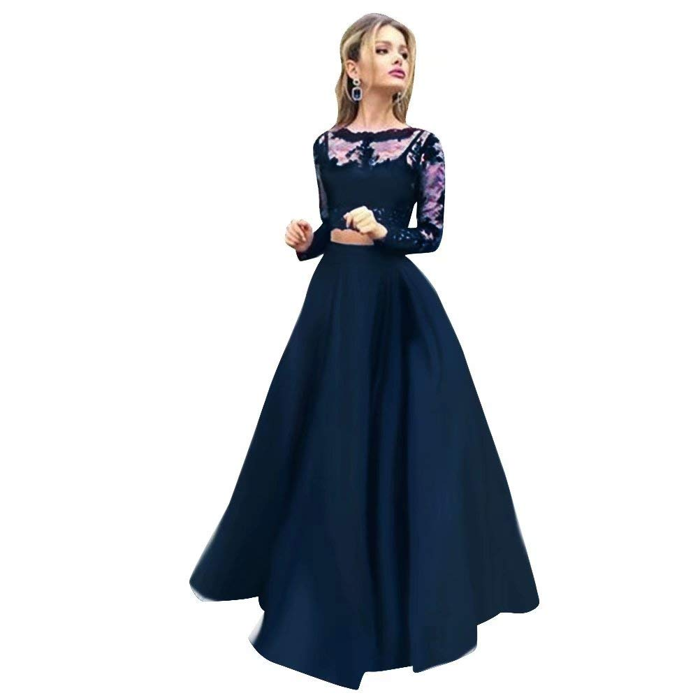 color 9 Women Floral Lace Dress Long Sleeve Flare Prom Gown