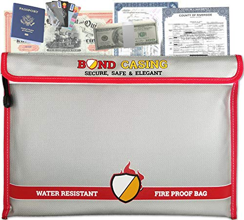 (Fireproof Documents Bag 15X11. Used as Money Bag, Cash Box, Fireproof Safe, Cash Envelopes, File Box, Money Safe, Document Organizer, Document Safe, Fire Safe Box, Fire Proof Box, Pouch Bag. Silver)