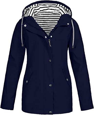 KASAAS Rain Jackets for Women Plus Size Zipper Raincoats Hoodie Solid Long Sleeve Waterproof Windproof Outdoor Coats