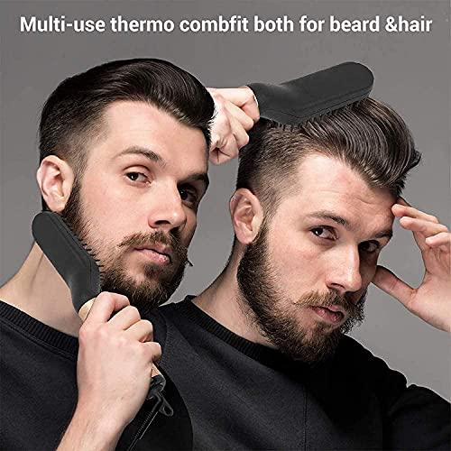 Bartglätter Bürste für Männer,Elektrische multifunktionale Bartbürste,Bürste Kamm Haar Glätter,180 ° C-200 ° C einstellbare Temperatur ,Haarpflege Verbrühschutz ,360 ° drehbares Kabel