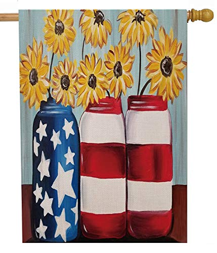 Selmad July 4th Patriotic Sunflower 28 x 40 House Flag Red White Blue Jar Double Sided, USA Summer Burlap Garden Yard Décor, Fall Flower American Seasonal Outdoor Decorative Autumn Large Flag