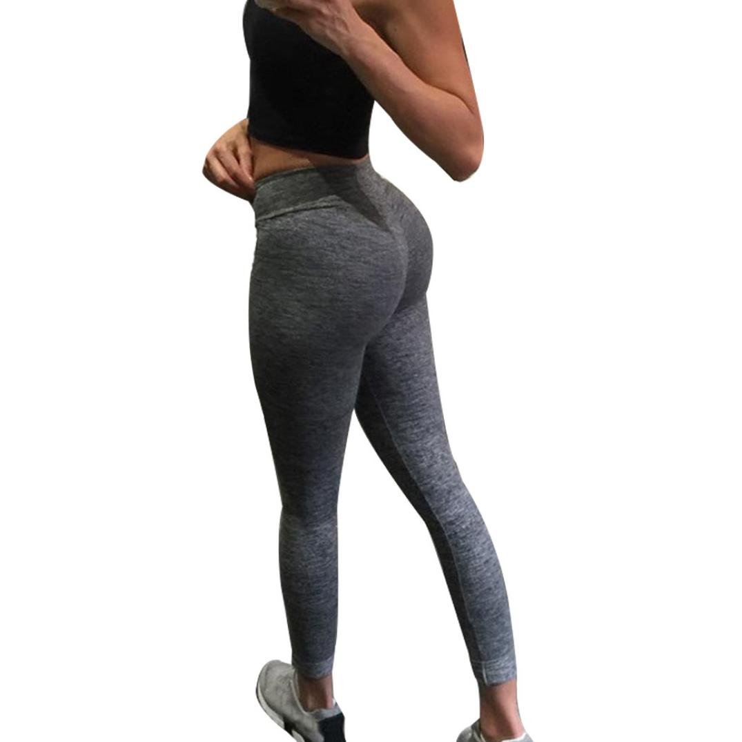 15251789d1147 E-Scenery Yoga Pants & Leggings Women's Butt Lift Leggings Super Soft Yoga  Pants High Waist Skinny Sports Fitness Pants Medium Dark Gray: Amazon.in:  ...