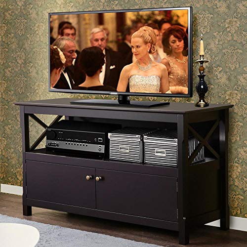 (Yaheetech X Shape TV Stand Base Console Storage Cabinet Home Media Entertainment Center with 2 Doors Wood)