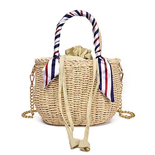 Daniel Straw Women Bags Handmade Woven Wrapped Beach Ladies Cross Body Bag Circle Bohemia Handbag Bali Bucket Bag Beige 25X13X18Cm Bali Straw Tote