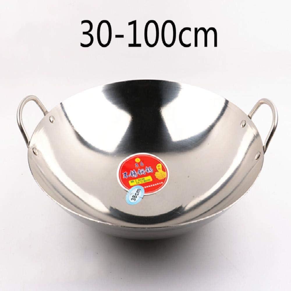PKJP 30-100CM Cooking Wok Kitchen Wok stainless steel round bottom Kitchen Pot Cooking Pot,100CM