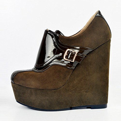 Pumps Closed 15cm Womens Kolnoo Heel Handmade Toe Wadge Platform Fashion Shoes High Deepbrown Buckles qP4tz