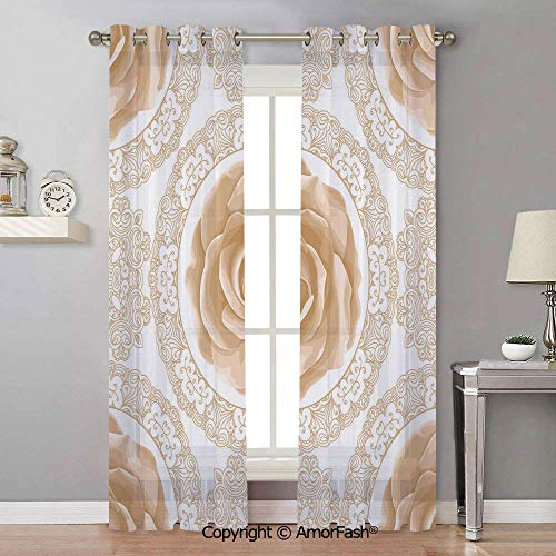 AmorFash Floral Translucent Solid Sheer Curtains Drape White,Chiffon Curtain for Kitchen,Natural Feeling,42x108 Inch Rose Florets with Classic Golden Lace Authentic Feminine Retro Oriental Motif