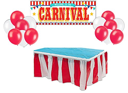 Carnival circus party supplies decorations - Red & White Striped Table Skirt,Plastic Carnival Banner With 10 Red balloons and 10 white balloons -