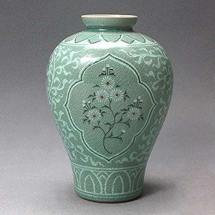 Amazon Korean Celadon Glaze Semi Round Inlaid Crane And