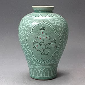 Amazon Com Korean Celadon Glaze Semi Round Inlaid Crane