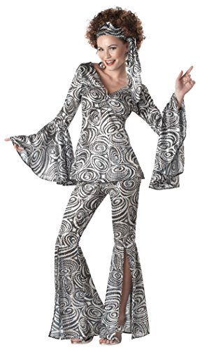 California Costumes Women's Adult Foxy Lady Costume and Wig, Black/Silver, -