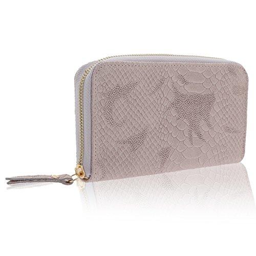 Chicca Borse - Damenbrieftasche aus echtem Leder Made in Italy - 20 x 11 x 3 Cm Antik rosa ZSYOsst