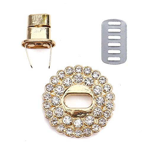 Monrocco Purse Lock Closure Hardware, Leathercraft Accessory Turn Lock Clasp Closure, Rhinestone Turn Twist Lock for Handbag ()
