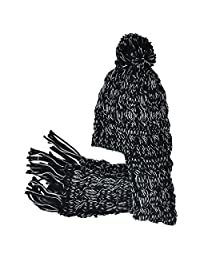 Knit Scarf Winter Hat- Black - Neon Eaters - Womens, Girls, Kids Scarves, Toque
