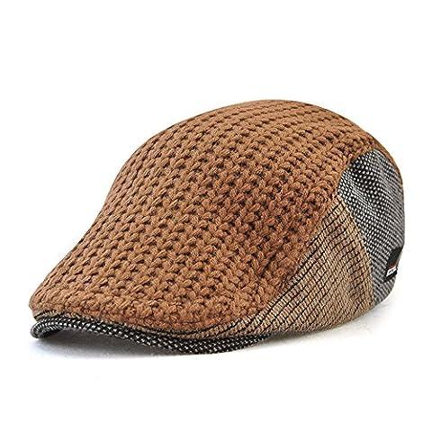 Vinchou Knitted Newsboy Ivy Hat Wool Thicken Warm Leisure Peaked Cap Men The Elderly Winter - Striped Seersucker Cap