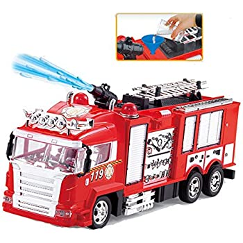 R/C Rescue Fire Engine Toy Truck - Radio Control RC Fire Truck with Working Water Pump Shoots and Squirts Water