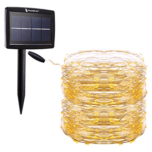 RockBirds Solar String Lights, 72Ft 150 LED Cop...