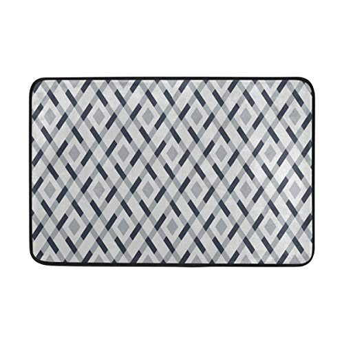 Benj Gold Durable Door Mat Geometric Argyle Pattern Vector Polyester Non-Slip Doormat for Indoor/Outdoor, Easy Clean Outside Doormat Patio Rug, Low-Profile Rug Mats for Entry, High Traffic Areas