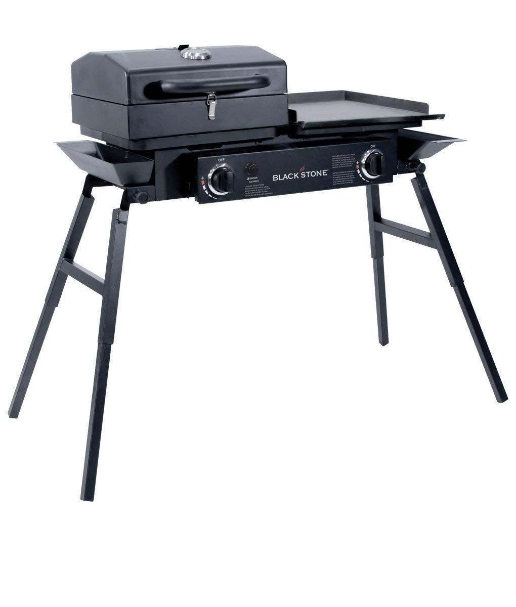 "Renewed Barbecue Box Portable Gas Grill and Griddle Combo Blackstone Grills Tailgater Tailgating and More Fishing Two Open Burners /"" Griddle Top Camping Stove Great for Hunting Adjustable Legs"