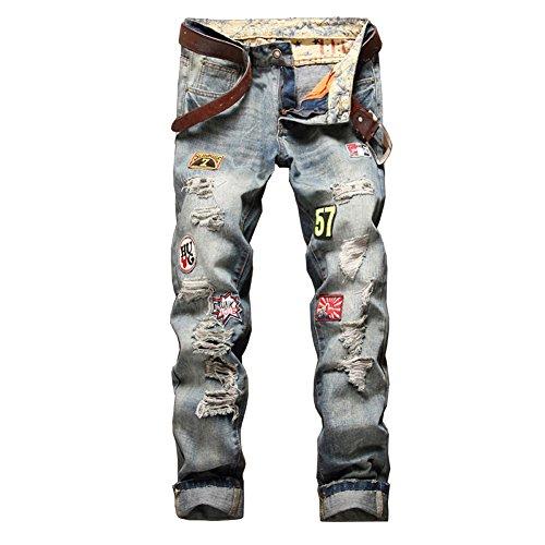 Skinny Taglio Uomo Casuale Strappati Straigh Pantaloni Distrutto Jeans Blu Fqxt64P