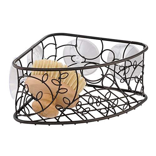 InterDesign Twigz Metal Bathroom Suction Holder, Shower Organizer Corner Basket for Sponges, Scrubbers, Soap, Shampoo, Conditioner, 9