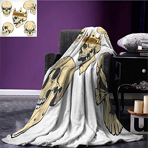 RenteriaDecor Skull Lightweight Blanket Skulls Different Expressions Evil Face Crowned Death Monster Halloween Print Lightweight All-Season Blanket Sand Brown Yellow Bed or Couch 60