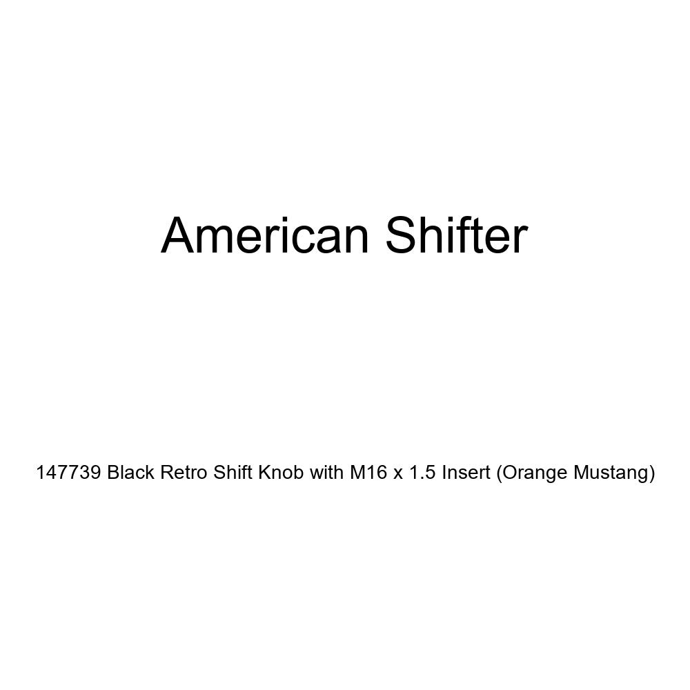American Shifter 147739 Black Retro Shift Knob with M16 x 1.5 Insert Orange Mustang