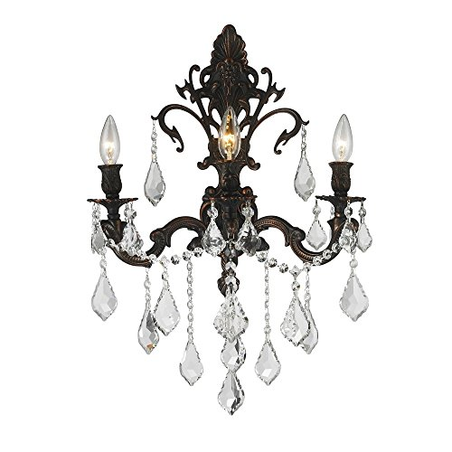 (Worldwide Lighting Versailles Collection 3 Light Flemish Brass Finish & Golden Teak Crystal Wall Sconce 17