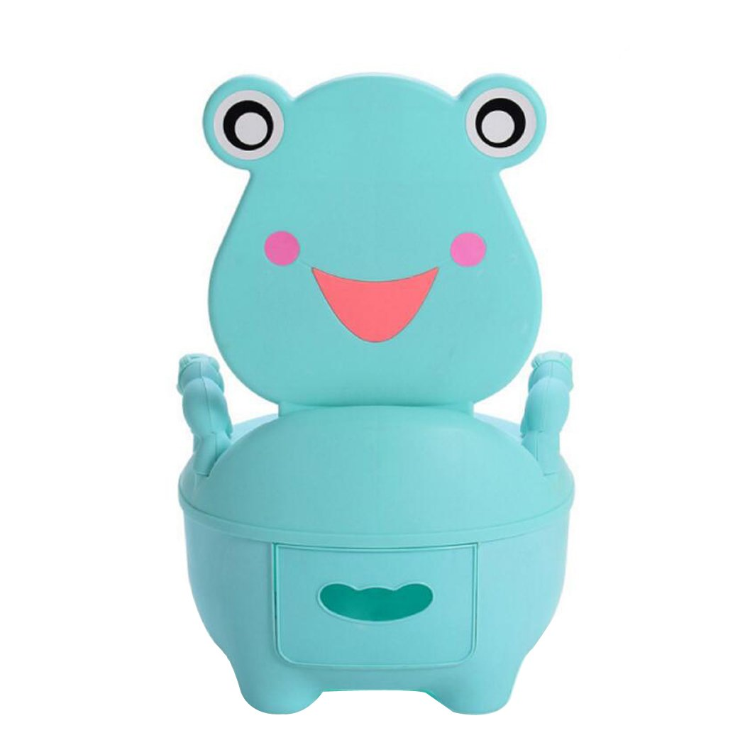 JUNBOSI Potty Chair High Back Rest Cartoon Frog For Toddler Child Toilet Trainer 3-in-1 Training Toilet Potty Tot Pot Seat Step Stool (Color : Blue)