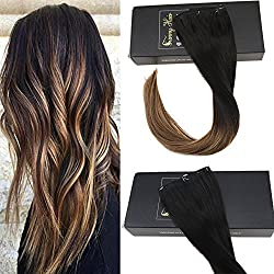 Sunny 20inch Balayage Clip In Human Hair Extensions Black Ombre Chocolate Brown Highligted Blonde Premium Silky Straight Clip In Hair Extensions 7pcs 120g/set