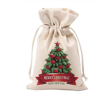 Amazon.com: 10 bolsas de regalo de Navidad de yute de lino ...