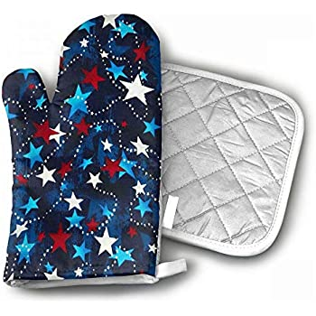 Made in The USA Stars Red White Blue Oven Mitts Grilling Gloves Heat Resistant Gloves BBQ Kitchen Oven Mitts Long Waterproof Non-Slip Potholder Barbecue Cooking Baking BBQ Gloves