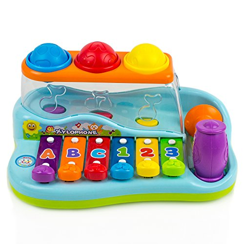 Toysery Rainbow Xylophone Piano Pounding Bench for Kids with...